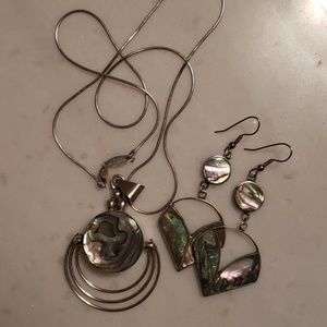 Silver abalone necklace and earrings